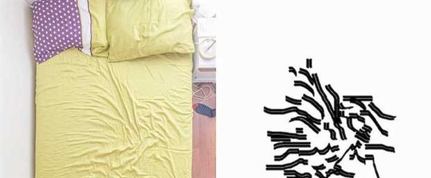 Yatak çarşafındaki kıvrımlar