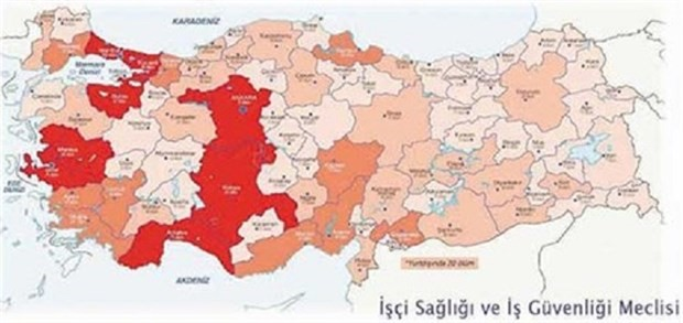 Occupational fatalities in Turkey reached a record high number of nearly 2000 last year