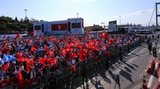 Millions gather at Bosporus Bridge of Turkey to mark anniversary of failed putsch
