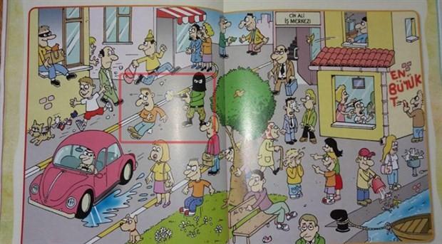 9 yaşındaki çocuklara dağıtılan dergide 'kafaya sıkma' çizimi