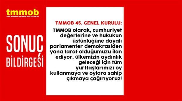 TMMOB 45. Olağan Genel Kurulu Sonuç Bildirgesi yayımlandı