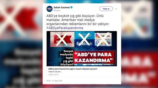 Yandaş Sabah gazetesi Twitter'a boykotu Twitter'dan duyurdu