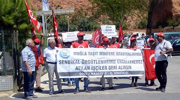 Muğla'da sendikalı oldukları gerekçesiyle işten atılan işçilerden eylem