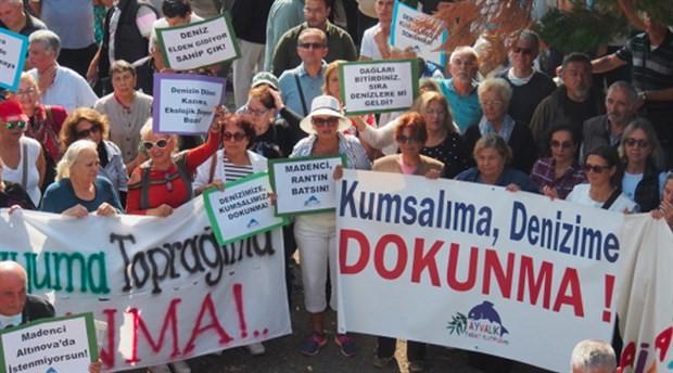 Ayvalık'ta halk protesto etti, ÇED toplantısı yapılamadı