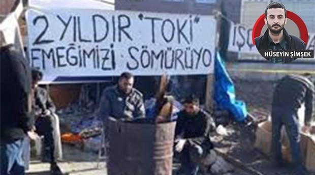 Direnişteki TOKİ işçilerine polis saldırısı