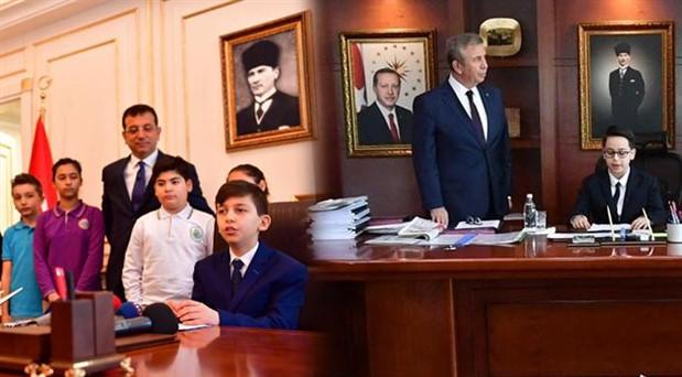 İmamoğlu ve Yavaş koltuklarını çocuklara bıraktı