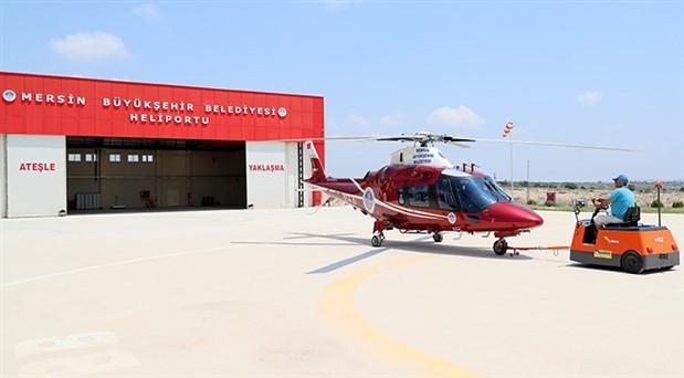Mersin'de belediyenin helikopteri taksi oluyor