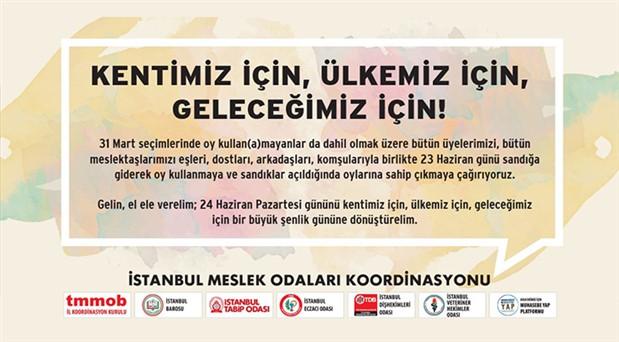 İstanbul'da meslek odalarından ortak çağrı: 23 Haziran'ı kentimiz için şenlik gününe dönüştürelim