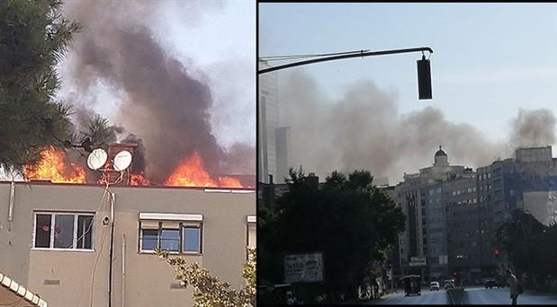 Mecidiyeköy'de 5 katlı binada yangın