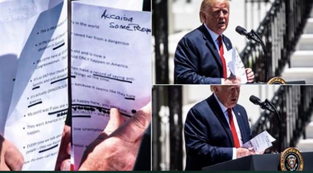 Trump'ın konuşma notlarında El Kaide'nin yazılışı gündem oldu: 'Al Qaeda' yerine 'Alcaida' yazdı