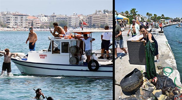 Didim'de deniz temizlendi, halı bile çıktı