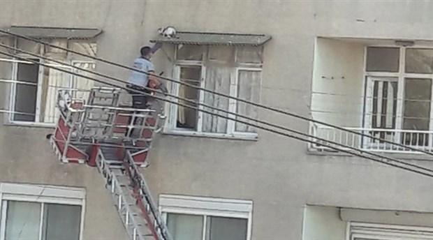 4. katta mahsur kalan kediyi itfaiye kurtardı