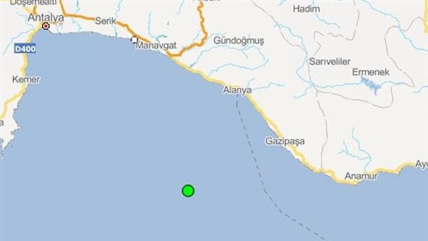 Antalya açıklarında 4 büyüklüğünde deprem