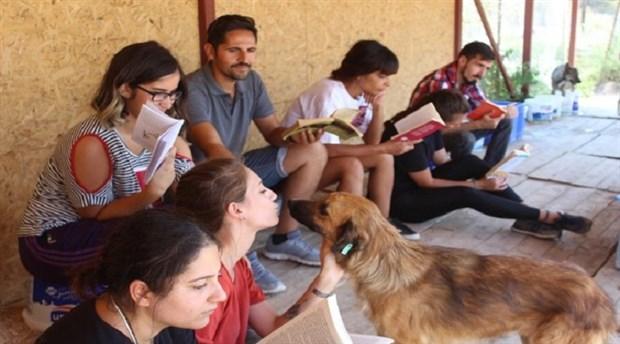 Kampiz üyeleri hayvan barınağında kitap okudu