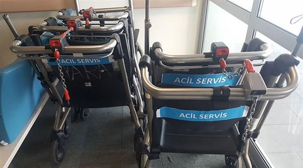 Hastane acilinde skandal uygulama: Tekerlekli sandalyelere market arabası sistemi