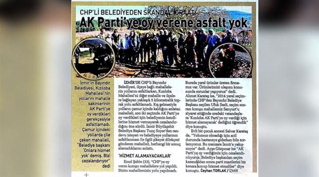 Sabah gazetesi, AKP'li belediyeyi CHP'li sanarak eleştirdi