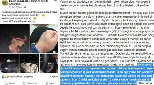 Ezdiği köpeğin fotoğraflarını paylaşarak reklam yaptı: Neyse ki Turanlı Sigorta var