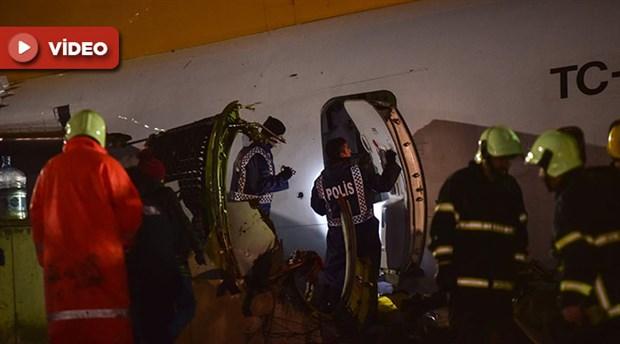 Pistten çıkıp parçalanan uçağın son görüntüsü