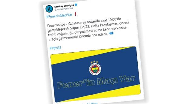 Kadıköy Sivil Galatasaray İnisiyatifi'nden Kadıköy Belediyesi'ne Fenerbahçe tweeti tepkisi