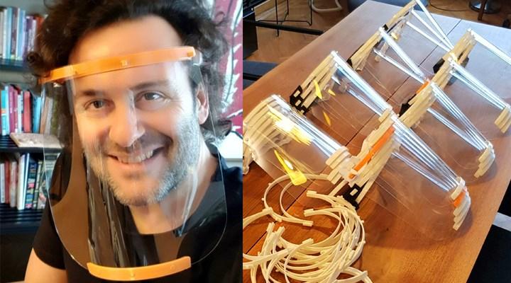 Karikatürist Erdil Yaşaroğlu, sağlık çalışanları için 3D yazıcı ile siperlik üretti