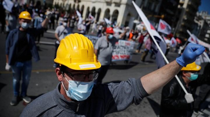 Atina'da işçiler Sintagma Meydanı'nda