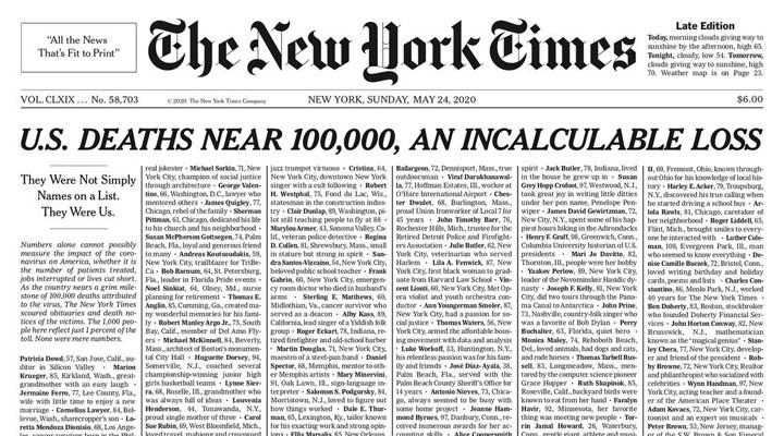 New York Times, birinci sayfasında Covid-19'dan ölenlerin isimleriyle çıktı