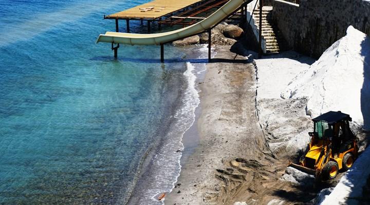 Bodrum'da sahile beyaz kum diye mermer tozu sermeye çalışan otele ceza verildi