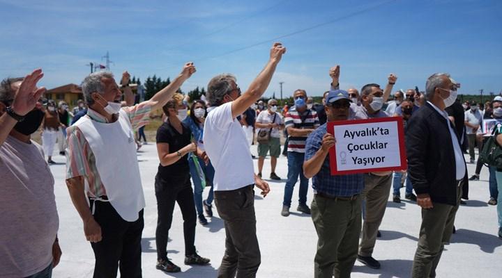 Ayvalık halkından doğaya zarar veren Doğuş Prina Fabrikası önünde protesto