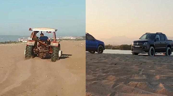 Caretta caretta yuvalarının üzerinden traktör ve ATV'lerle geçtiler