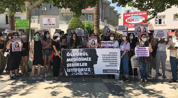 Denizli'de kadınlar Pınar Gültekin için sokağa çıktı