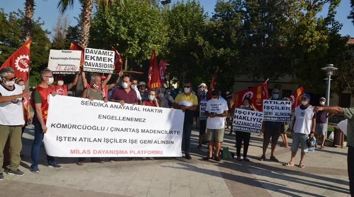 Milas'ta işten çıkarılan nakliyat işçilerine destek büyüyor
