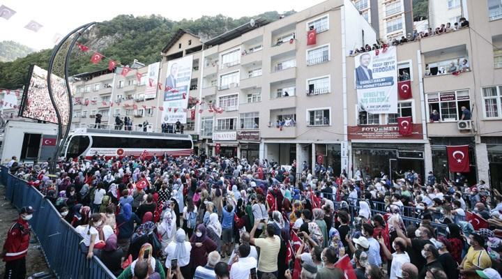 Erdoğan Giresun'da miting yaptı, sosyal mesafe hiçe sayıldı!