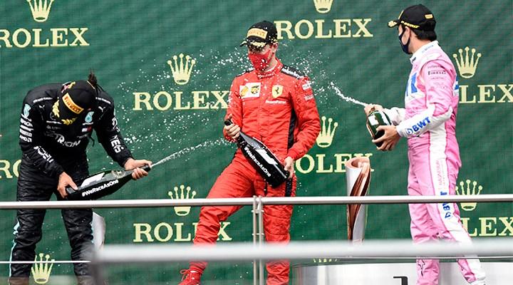 Formula 1'de şampanya yerine gazoz patlatıldı