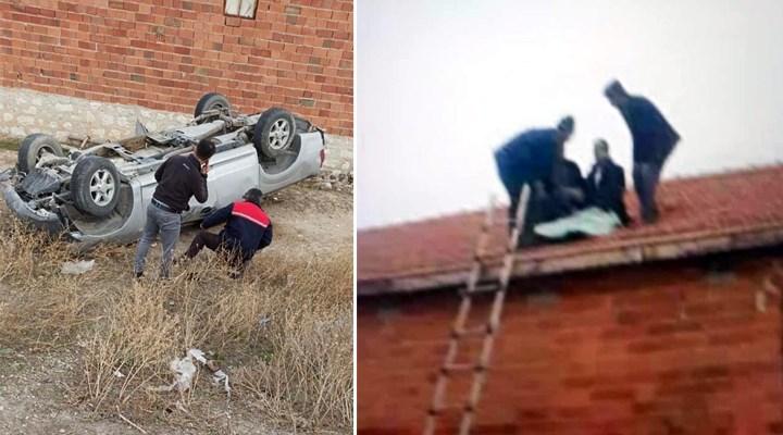 Takla atan araçtan fırlayan sürücü, evin çatısına düştü