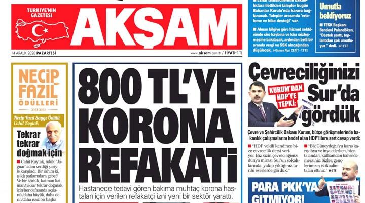 Yandaş Akşam, 'korona refakati'ni müjde gibi sundu: Sektör oluştu!