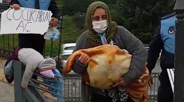 'Çocuklarım aç' pankartıyla dilenen kadının kucağından oyuncak bebek çıktı