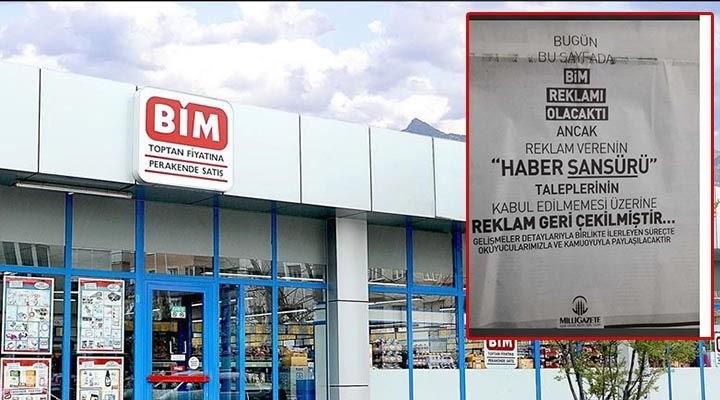 Milli Gazete, BİM'i ilanla ifşa etti: 'Haber sansürü' talebinde bulunmuşlar