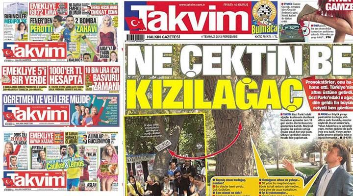 Gezi'deki ağaçla 'konuşan' palavra bülteni yandaş 'gazete'nin kapatılacağı iddia edildi