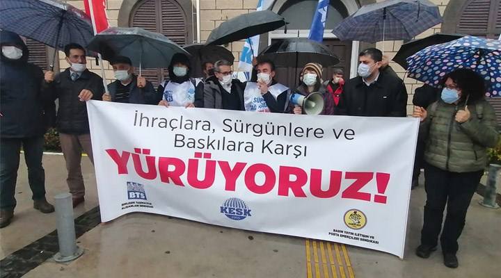 BTS ve Haber Sen üyelerinin İzmir'den Ankara'ya yürüyüşü başladı