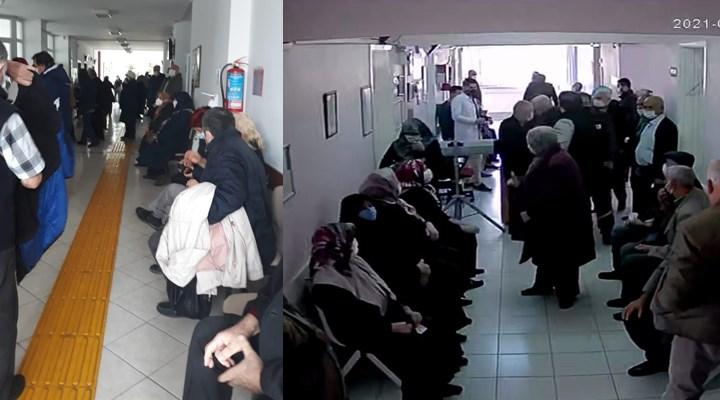 Covid-19 aşısı randevuları aynı saate verildi, koridorlar insan kaynıyor