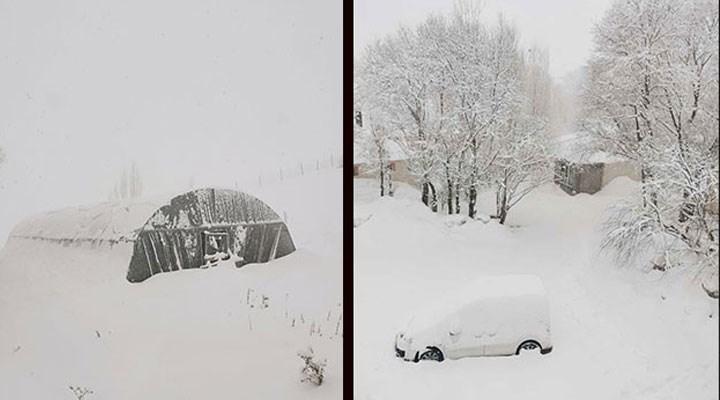 Türkiye'nin en soğuk ilçesinde kar kalınlığı, yarım metreyi aştı