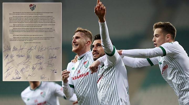 Bursaspor'un tüm futbolcularından ortak açıklama: Bir kuruş maaş alamadık