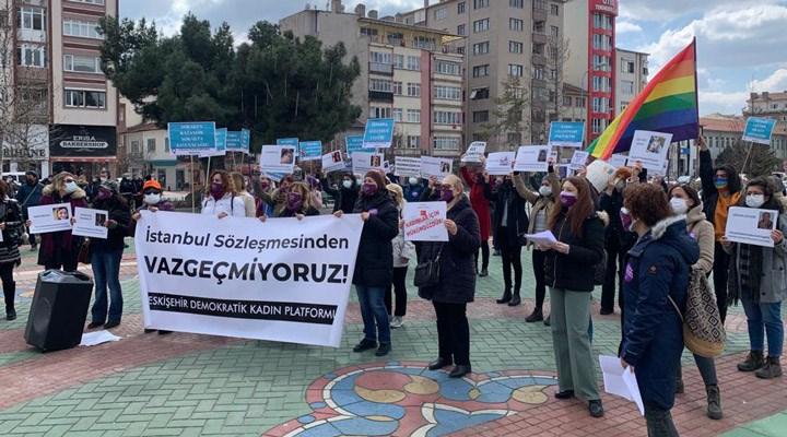 Eskişehir'de kadınlardan 'İstanbul Sözleşmesi' eylemi: Vazgeçmeye niyetimiz yok
