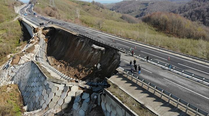 Limak tarafından yapılan Düzce-Zonguldakkarayolu çöktü!