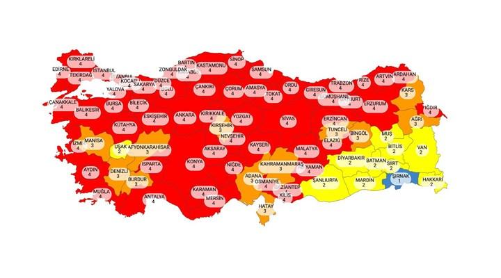 Yeni risk haritası yayımlandı