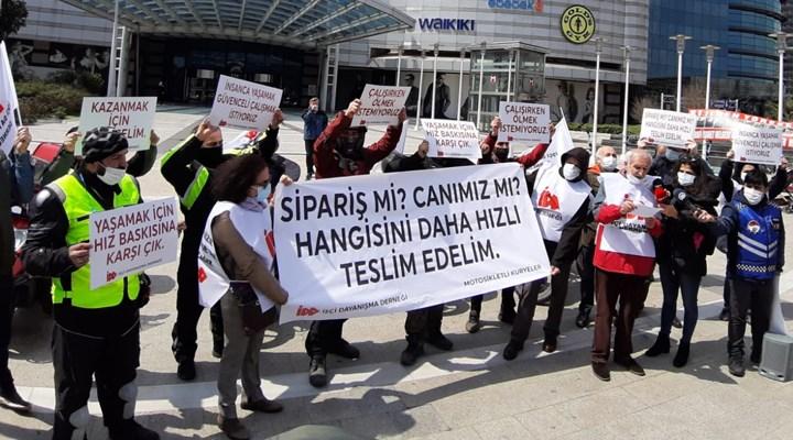 İşçi Dayanışma Derneği'nden moto kuryelerle birlikte eylem: 6 acil talebi açıkladılar