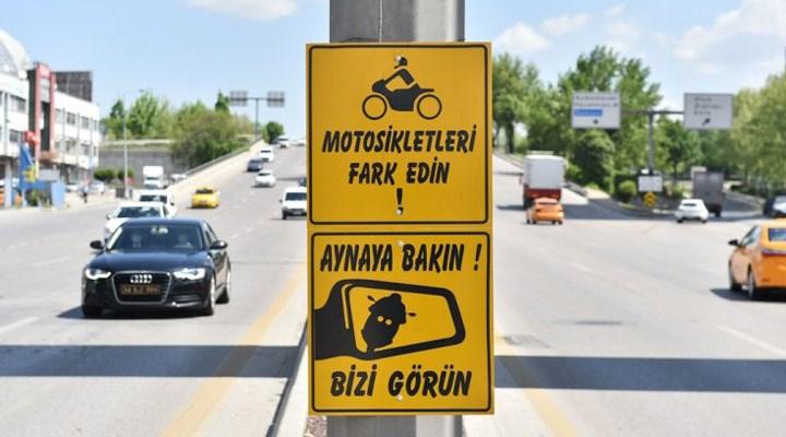 Ankara Büyükşehir Belediyesi'nden motosiklet sürücüleri için farkındalık levhaları
