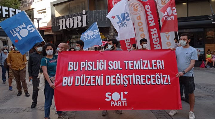 SOL Parti'den İzmir'de yasağa rağmen eylem: Bir tuğla da sen çek, bu düzen değişsin
