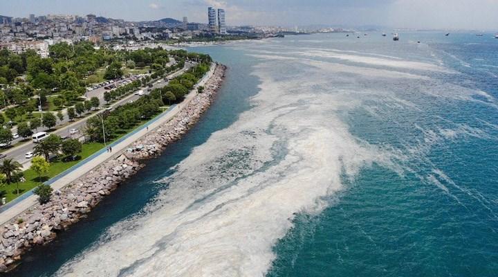 Kartal Sahili'ndeki müsilaj havadan görüntülendi