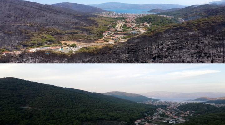Marmaris'in yangından önceki ve sonraki durumu havadan görüntülendi